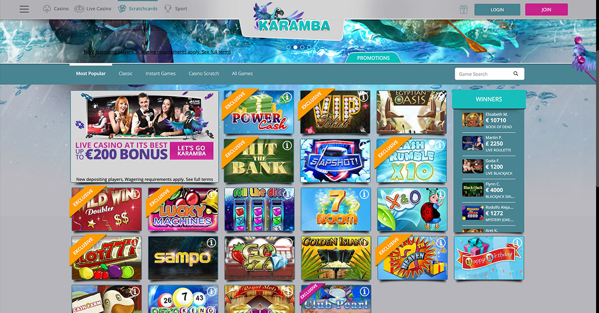 Karamba casino mobile games